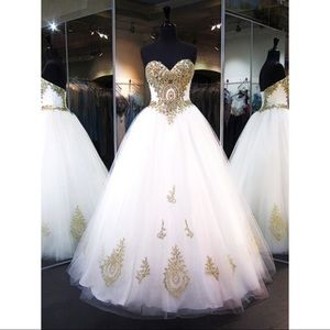 Ivory ball gown prom dress